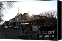 Horse Carriage Canvas Prints - Old Sacramento California In Partial Silhouette . 7D11719 Canvas Print by Wingsdomain Art and Photography