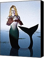 Science Fiction Canvas Prints - Old Sailors Dream - The Mermaid Canvas Print by Bob Orsillo