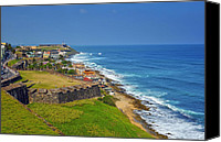 Old San Juan Canvas Prints - Old San Juan Coastline Canvas Print by Stephen Anderson