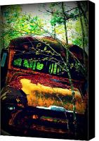 Transportation Mixed Media Canvas Prints - Old School Bus Canvas Print by Dana  Oliver