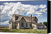Old Wood Building Canvas Prints - Old Schoolhouse - Ovid - Idaho Canvas Print by Gary Whitton