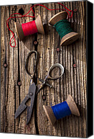 Scissors Canvas Prints - Old scissors and spools of thread Canvas Print by Garry Gay