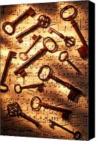 Notes Canvas Prints - Old skeleton keys on sheet music Canvas Print by Garry Gay