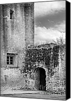 Old Stone Building Canvas Prints - Old Stone Building Black And White Canvas Print by Jill Battaglia