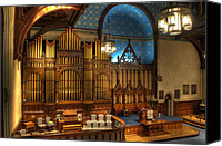 Prebysterian Canvas Prints - Old Stone Church Organ Canvas Print by At Lands End Photography
