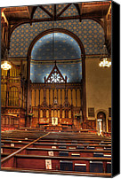 Prebysterian Canvas Prints - Old Stone Church View from the Pews Canvas Print by At Lands End Photography