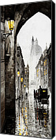 Bw Canvas Prints - Old Street Canvas Print by Yuriy  Shevchuk