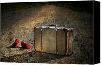 Rusty Digital Art Canvas Prints - Old suitcase with red shoes left on road Canvas Print by Sandra Cunningham