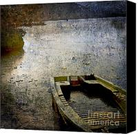 Rowboat Canvas Prints - Old sunken boat. Canvas Print by Bernard Jaubert