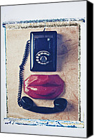 Dial Photo Canvas Prints - Old telephone and red lips Canvas Print by Garry Gay