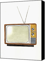 Tv Set Canvas Prints - Old Television Set Canvas Print by Michael Vigliotti