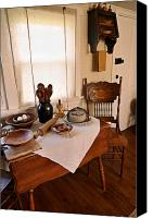 Wooden Bowls Photo Canvas Prints - Old Time Kitchen Table Canvas Print by Carmen Del Valle