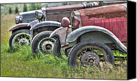 Old Trucks Canvas Prints - Old Timers Canvas Print by David  Naman