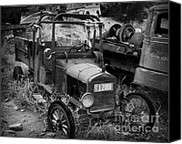 Rusted Cars Canvas Prints - Old Times 2 Canvas Print by Perry Webster
