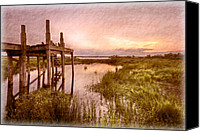 Florida Bridge Canvas Prints - Old Times Dock Canvas Print by Debra and Dave Vanderlaan