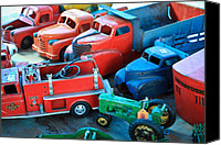 1949 Plymouth Canvas Prints - Old Tin Toys Canvas Print by Steve McKinzie