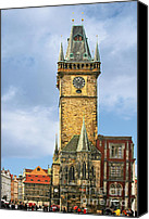 City Hall Canvas Prints - Old Town Hall Prague CZ Canvas Print by Christine Till