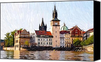 Expressionism Pastels Canvas Prints - Old Town Canvas Print by Stefan Kuhn