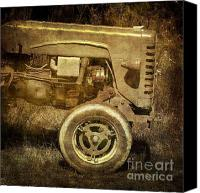 Tractor Wheel Canvas Prints - Old tractor Canvas Print by Bernard Jaubert