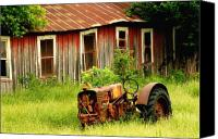 Barn Windows Canvas Prints - Old Tractor Canvas Print by Iris Greenwell