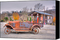 Arkansas Canvas Prints - Old Truck and Gas Filling Station Canvas Print by Douglas Barnett