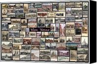 Europe Pyrography Canvas Prints - Old Vienna Collage Canvas Print by Janos Kovac
