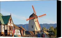 Old Mills Canvas Prints - Old Village and Windmill Canvas Print by Paul Topp