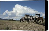 Chuck Wagon Canvas Prints - Old Wagon Out West Canvas Print by Jerry McElroy