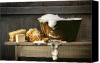 Barn Digital Art Canvas Prints - Old wash tub with soap on bench Canvas Print by Sandra Cunningham