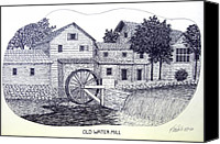 Pen And Ink Old Mill Drawing Canvas Prints - Old Water Mill Canvas Print by Frederic Kohli