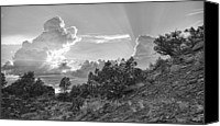 Dan Turner Canvas Prints - Old West Sunset BW Canvas Print by Dan Turner