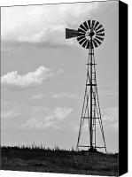 Prairie Sky Art Canvas Prints - Old Windmill II Canvas Print by Ricky Barnard