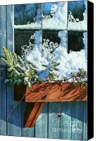 Celebrating Canvas Prints - Old window in winter Canvas Print by Sandra Cunningham