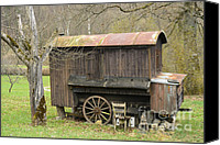 Caravan Canvas Prints - Old wooden construction trailer Canvas Print by Matthias Hauser