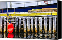 Railing Canvas Prints - Old wooden pier in Newfoundland Canvas Print by Elena Elisseeva