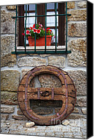 Old Wall Canvas Prints - Old Wooden Wheel Canvas Print by Carlos Caetano