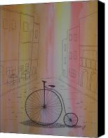 Penny Farthing Painting Canvas Prints - Old World Cycle Canvas Print by Nancy Nuce