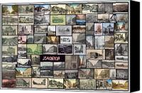 Europe Pyrography Canvas Prints - Old Zagreb Collage Canvas Print by Janos Kovac