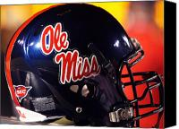 Team Canvas Prints - Ole Miss Football Helmet Canvas Print by University of Mississippi