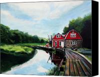 House Painting Canvas Prints - Oles Boathouse in Riverside Connecticut Canvas Print by Colleen Proppe
