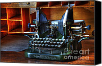 Historic Furniture Canvas Prints - Oliver Typewriter Canvas Print by Bob Christopher