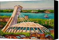 Baseball Art Print Painting Canvas Prints - Olympic Stadium  Montreal Canvas Print by Carole Spandau