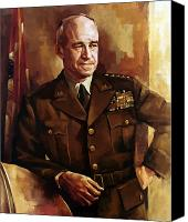Soldier Painting Canvas Prints - Omar Bradley Canvas Print by War Is Hell Store