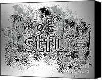 Chat Digital Art Canvas Prints - OMG stfu Canvas Print by Linda Seacord