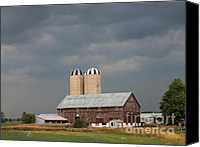 Storm Prints Canvas Prints - Ominous Clouds Over the Barn Canvas Print by J McCombie