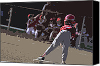 Athletic Digital Art Canvas Prints - On Base Canvas Print by Peter  McIntosh