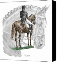 Horse Drawings Canvas Prints - On Centerline - Dressage Horse Print color tinted Canvas Print by Kelli Swan