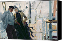 Talking Canvas Prints - On Deck Canvas Print by Louis Anet Sabatier