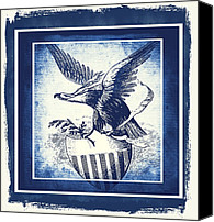 Patriotism Mixed Media Canvas Prints - On Eagles Wings Blue Canvas Print by Angelina Vick