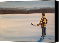 Pond Hockey Canvas Prints - On Frozen Pond - Bobby Canvas Print by Ron  Genest